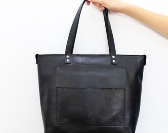 Basic black leather handbag