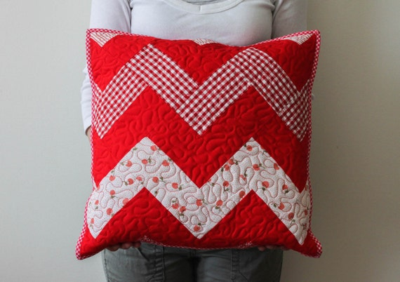 White Quilted Decorative Pillows : Items similar to red quilted pillow ZIG ZAG/ red white quilted pillow cover/ decorative ...