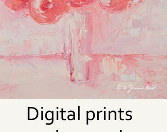 Pink Roses Flower Painting Print. Pink Floral Living Room Wall Digital Print. Pink Cottage Chic Decor. 128
