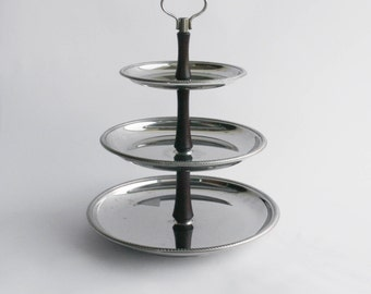 SUPER SALE - Alfra Alessi Vintage mod. Mercurio Rotatable Cake Stand - Stainless Steel - Made in Italy