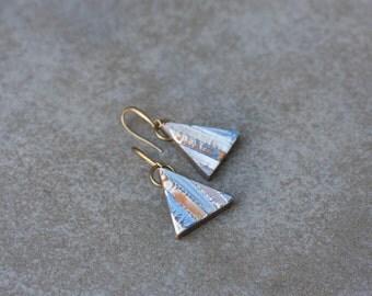Dangle earrings - simple triangle earrings - everyday minimalist earrings - polymer clay geometric earrings
