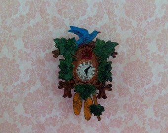 Clock cuckoo clock miniature Dollhouse scale 1:12