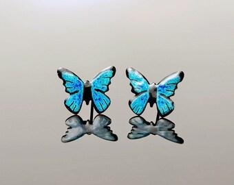 Handpainted Stainless Steel Blue Butterfly Earrings, Whimsical Butterflies, Enameled Jewelry, Insect Studs, Wearable Art, Spring Earrings