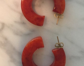 Vintage orange lucite earrings