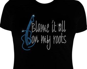 Garth Brooks shirts-Rhinestone-Garth Brooks-blame it all on my roots Iron on transfer