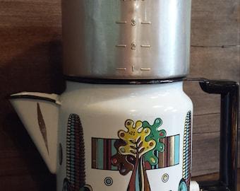 Vintage Georges Briard Enamelware 4PC Stove Top Drip Coffee Pot HARD FIND