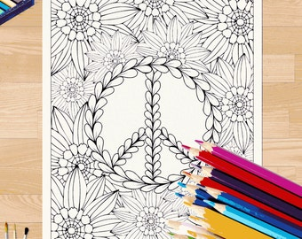 Peace and Flowers Coloring Page #0015