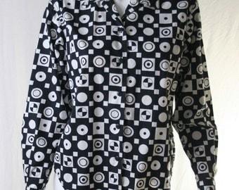 unique 80s black & white pattern button up blouse