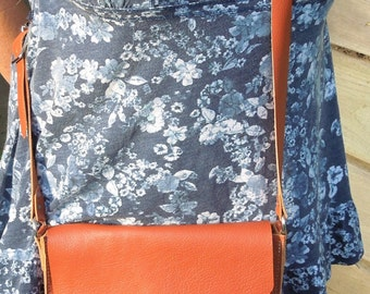 Tangerine Orange Crossbody Leather Bag
