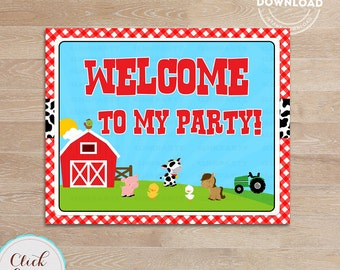 Farm  Welcome Sign, Barn Party Sign, Door Sign, Old Mc Donald, barnyard animals, Printable Party supplies, Birthday Party Decorations