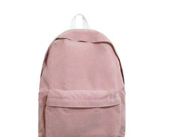Basic Style Corduroy Backpack (Pink)