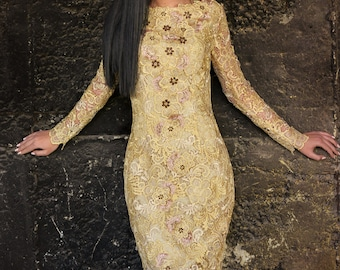Gold Lace Dress, Haut Couture Dress, Hand Crafted Dress, Cocktail Gown, Long Sleeve Dress, Prom Midi Dress, Bodycon Dress, Embroidered Dess