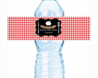 30 Red Gingham BBQ Baby Shower Water Bottle Labels - Baby Shower Water Labels - Baby Shower Decor - BBQ Party Supplies