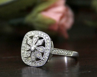 Art Deco Ring-Filigree Design Vintage Engagement Ring-Brilliant Cut Pave Diamond Simulants-Anniversary Ring-Solid Sterling Silver [6017]