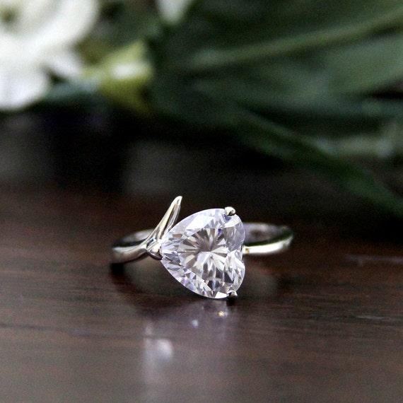 70 ct Engagement Ring-Hear Cut Diamond Simulants-Bridal Ring-Promise ...