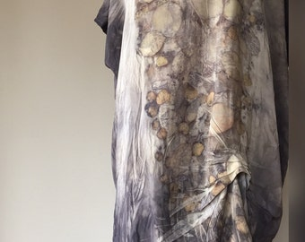 Eco fashion dress in silk and natural dyes, V-neck dress