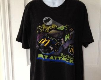 Bat Attack NASCAR Shirt Bill Elliott Bat Man Bat Attack t-shirt 94 Race car McDonald's Racing Team Logo NASCAR Shirt