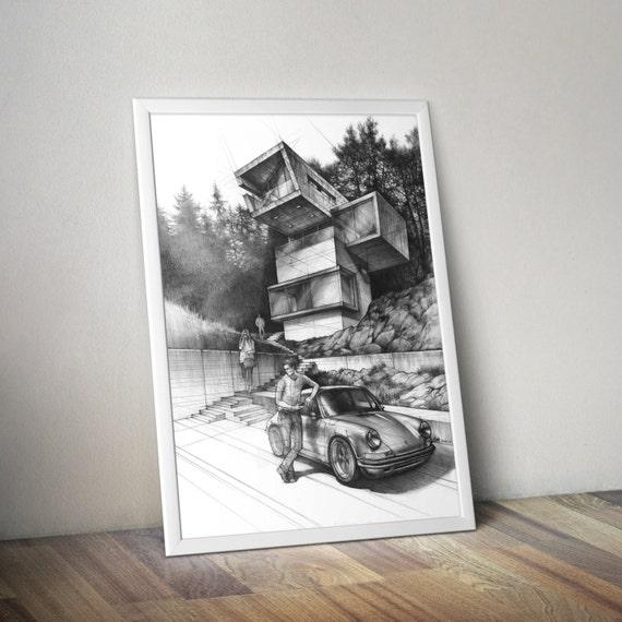 modern architecture art print pencil drawing print modern