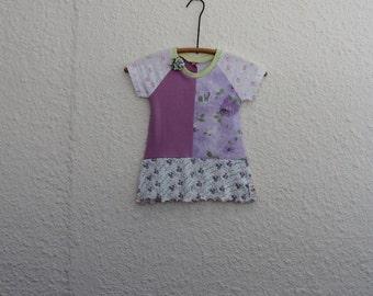 Girl's Dress, Baby Dress, UpcycledSize 1 T Shirt Dress, Recycled Tshirt Dress, Repurposed T Shirt Dress, Girl's Dress, Toddler Tshirt Dress,