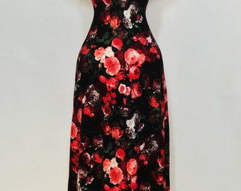 Maxi dress, summer dress, floral dress, red and coral dress, off-the-shoulder dress, wedding guest dress, mother of the bride dress