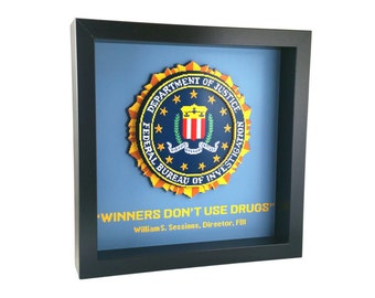Winners Don't Use Drugs (Arcade) FBI Department of Justice Shadow Box