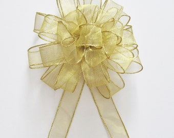 Sheer Wired Bow - Gold - Wired Bow - 25 Loops