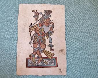 1980's Mexican Amate Paper Painting, Ancient Mayan Dancer, Murals at Cacaxtla, Olmec Culture Painting, Ancient Mayan, Mexican Folk Art