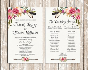 Wedding program printable, Bohemian flowers and feathers Wedding Program Boho Watercolor Flower Ceremony Program Printable - FFB-39