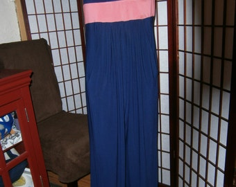 Women's Vintage Jumpsuit -1980's - Navy Blue with Peach Band