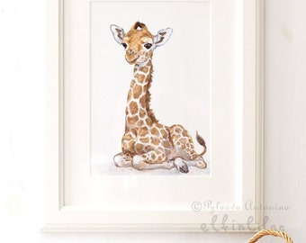 Giraffe nursery print - Giclee -Safari Nursery Art - Baby Giraffe Print - Baby Animal Print - Zoo Nursery Print - African animal art