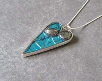 """Mosaic Art Jewellery, Turquoise Heart Pendant with Hematite Stones, Ripple Mirror Glass and Silver Plated Snake Chain 18"""" or 24"""""""