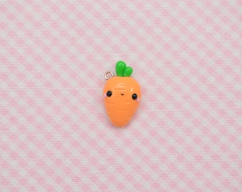 Carrot charm, Kawaii Charm, Veggie Jewelry, Kawaii Carrot, Cute Vegetable, Polymer Clay Carrot