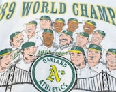 Oakland A's characature 89 World Champs, Athletics BaseBall Team caricature graphaic of A's Player's Size XL T-Shirt