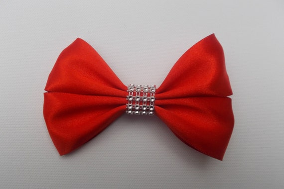 Red Satin Bling  Hairbow
