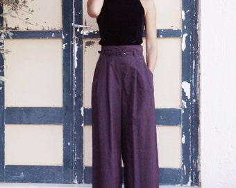 Vintage Antonios Markos burgundy high waist Greek fashion pants.size s