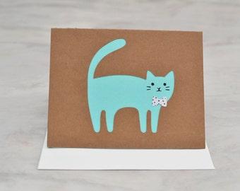 Cat Card - Cat Bow Tie Card - Blank Cat Card - Cat Stationary - Blank Card