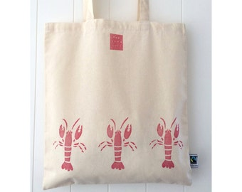 Handprinted Larry the Lobster Fairtrade Cotton Tote