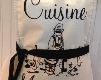 Chef style full apron Paris theme Chat Noir