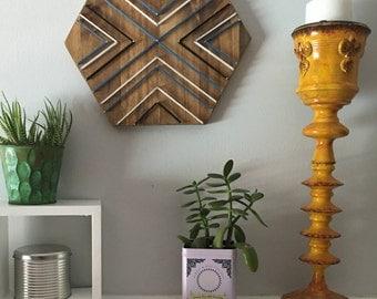 Hexagon, wood wall art, modern minimalist wall art, living room wall art, bedroom wall art, 3D wall art, mixed media art, bathroom wall art