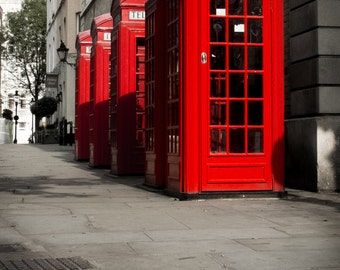 Red Phone Booth Print - Red Telephone Print, Red Phone Booth, London Print, London Wall Art - London Photography Print
