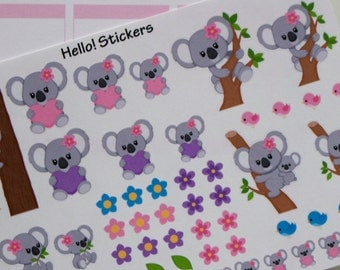 Girl Koala Bear Stickers for Erin Condren Planners, Happy Planner, Recollection Planners, other Planners, Party Stickers, or just for fun!