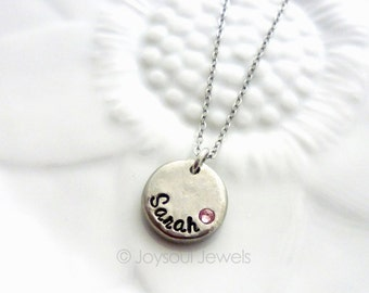 Mother's Day Gift - Dainty Personalized Birthstone Necklace - Custom Mother's Jewelry - Child's Name Necklace - Birthstone Mom Necklace
