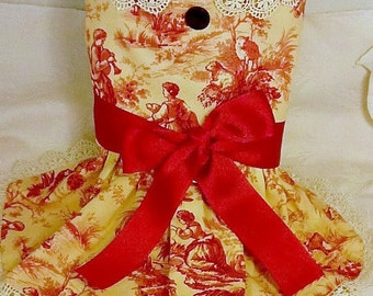Red and Cream Toile Party Dog Harness Dress