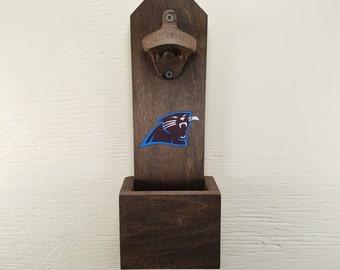 Wall Mounted Bottle Opener, Carolina Panthers, Bottle Cap Catcher, Football