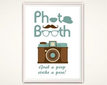 Grab A Prop And Strike A Pose - Photo Booth Sign, Retro Photo Booth PRINTABLE, Wedding Photobooth Sign, Photo Booth Prop, Wedding Decoration