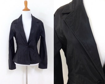 90s Black Polyurethane Jacket Fitted Blazer Size Small