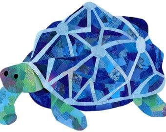 Blue tortoise print - Tortoise wall art - Cute animal print - Paper collage art - Nursery wall art - Nursery decor - Childrens wall art