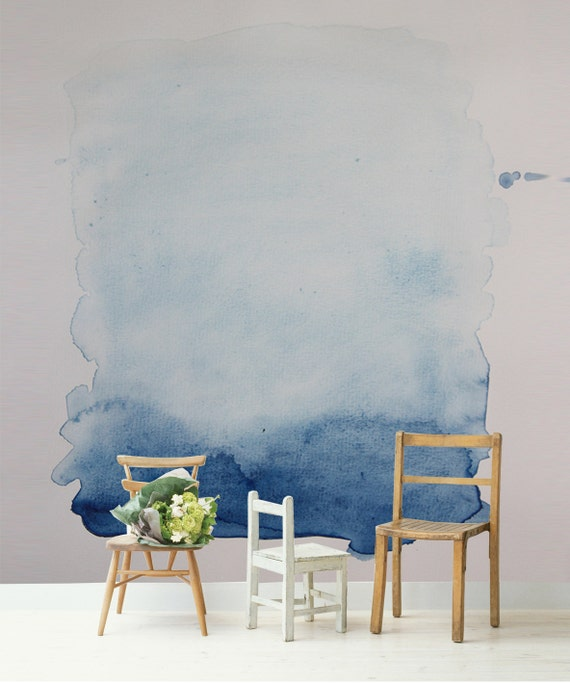 blue wash removable wall mural 66 x96 watercolour painting self