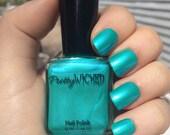 Aqua Nail Polish, Talulah Polish, Metallic Aqua Nail Polish, Greenish Blue Nail Polish, Mermaid Nails, Blue Green Nail Polish
