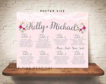 PRINTABLE Wedding Seating Chart, Wedding Seating Sign, Pink Wedding, Custom Seating Chart, Blush, pink floral, lace wedding, silver, grey